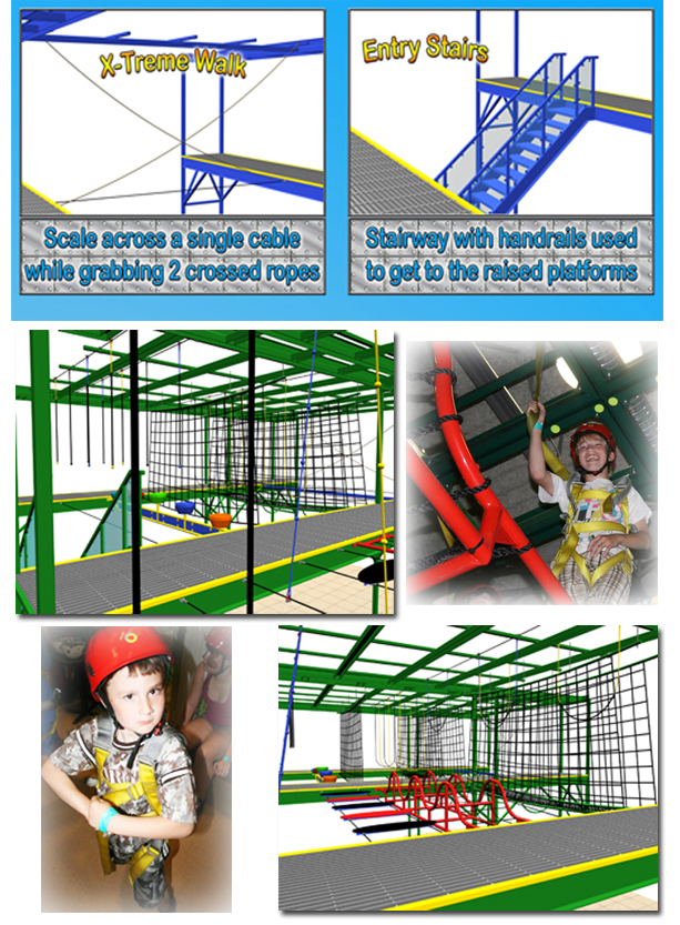Obstacle Course, Air Trek, indoor play equipment, FEC, Family Entertainment Center
