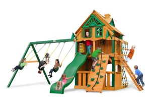 Chateau Clubhouse Treehouse Swing Set w Fort Add-On, Wooden Swingsets, Wooden Swing Sets