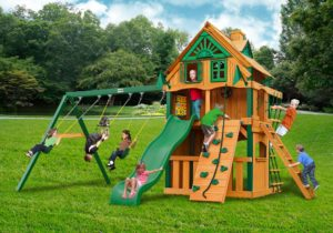 Chateau Clubhouse Treehouse Swing Set w Fort Add-On, Wooden Swingsets, Wooden Swing Sets01-0065-TS-2