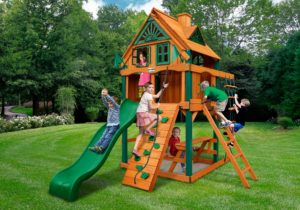 Chateau Tower Treehouse w/ Fort Add-On, Backyard Swingsets, Wooden Swing Sets
