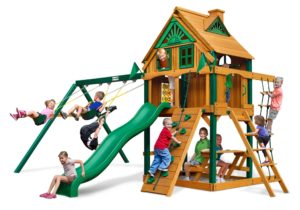 Chateau Treehouse Swing Set w Fort Add-On, Wooden Swing Sets