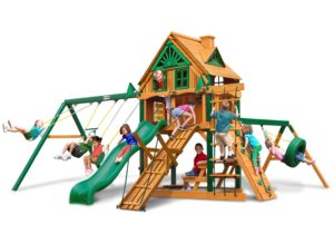 Frontier Treehouse Swing Set w Fort Add-On, Wooden Play Set