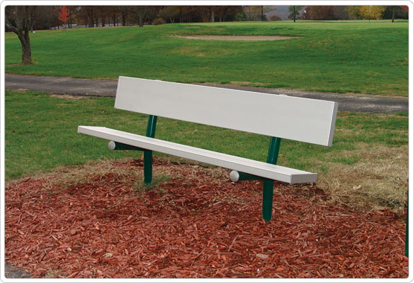 Permanent Bench with Back 8ft Aluminum