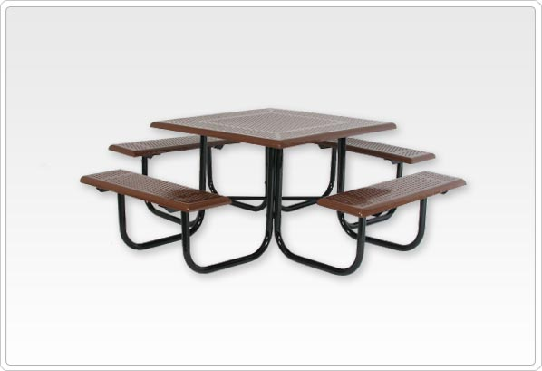 Square Picnic Table with 1 5-8 Beveled Edge Perforated Steel