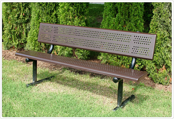 Standard Bench with Back 6ft Beveled Edge Perforated