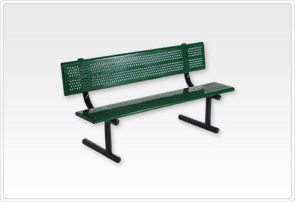 Standard Bench with Back 8ft Rolled Edge Perforated Steel