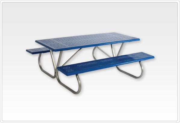 Standard Rectangular Picnic Table 4ft Rolled Edge Perforated Steel 1-5-8