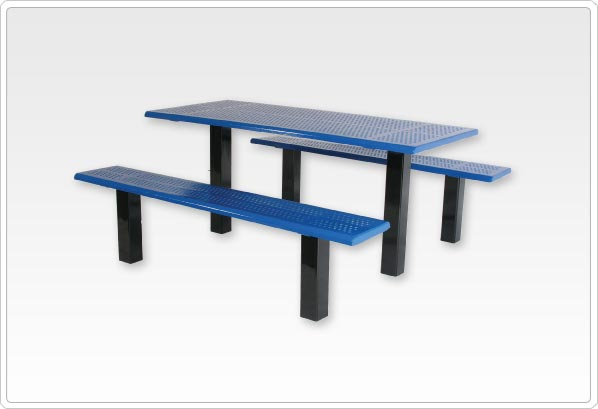 Straight Post Picnic Table with 4 Beveled Edge Perforated Steel